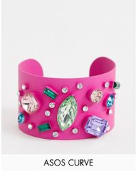 ASOS - Asos Design Curve Exclusive Cuff Bracelet In Colour Pop Design With Rainbow Jewels - Lyst