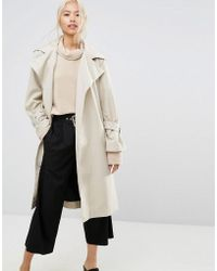 House Of Sunny - Longline Trench Coat With Yoke Back Detail - Lyst