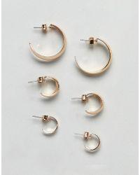 Monki - Multi Size Hoop Earring 3 Pack In Gold - Lyst