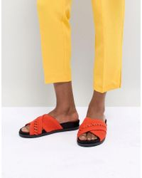 Call It Spring - Nydeladda Red Flatform Sliders - Lyst