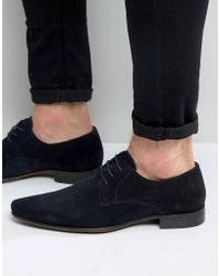 ASOS - Pointed Derby Shoes In Navy Suede - Lyst