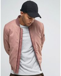 ASOS - Bomber With Wash & Ma1 Pocket In Pink - Lyst