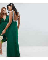 TFNC London - Squared Back Embellished Bridesmaids Maxi Dress In Forest Green - Lyst