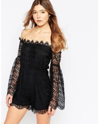 Girl In Mind | Zayla Lace Off Shoulder Festival Playsuit | Lyst