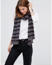 Hat Attack - Stripe Scarf - Grey/black - Lyst