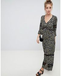 ASOS - Design Maxi Tea Dress In Floral Print With Lace Inserts - Lyst