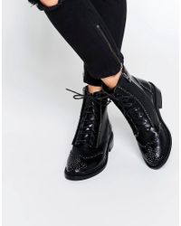 Lost Ink - August Pin Stud Brogue Lace Up Flat Ankle Boots - Lyst