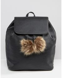 Glamorous - Simple Backpack With Faur Fur Pom - Lyst