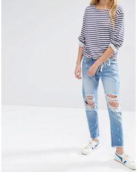 Daisy Street - Distressed Boyfriend Jeans With Raw Hem - Lyst