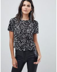ASOS - T-shirt With All Over Sequins - Lyst