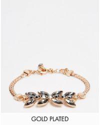 Pilgrim - Rose Gold Statement Jewel Bracelet - Lyst