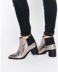 Lost Ink - Aimon Silver Metallic Heeled Ankle Boots - Lyst