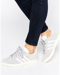 Adidas originali originali unisex camoscio gazzella scarpe da ginnastica in grigio