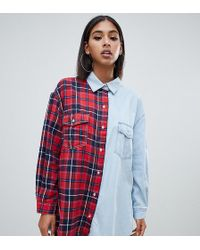 Missguided Oversized Check And Denim Shirt In Multi
