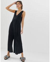 55aa6176ab ASOS - Curved Smock Jumpsuit - Lyst