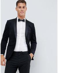 French Connection Velvet Slim Fit Peak Lapel Jacket