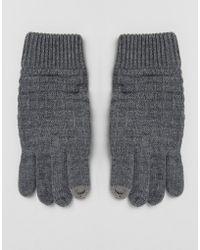 River Island - Waffle Knit Glove In Grey - Lyst