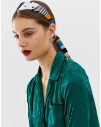 43273f86832f3b ASOS - Gestreiftes und gepunktetes Haarband mit Oversize-Schnürung - Lyst