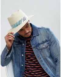 5d803ec8f6f3c2 ASOS - Asos Diamond Crown Pork Pie Straw Hat In Natural With Floral Band  Detail -