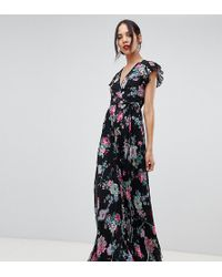 b055ab6aa8 ASOS Smock Pleated Maxi Dress In Snake Print - Lyst