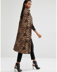 Lavish Alice - Leopard Print Collarless Cape Coat - Lyst