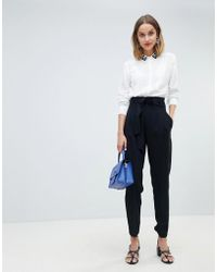 Mango - Paper Bag Waist Tapered Pants - Lyst
