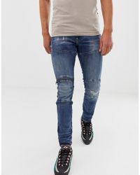 G-Star RAW - Elwood Skinny Fit Super Stretch Denim Jean In Mid Wash With Knee Zip Detail - Lyst