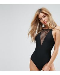 Wolf & Whistle - Lace Plunge Swimsuit - Lyst