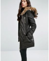 Lipsy - Faux Fur Hood Belted Parka Jacket With Zip Pockets - Lyst