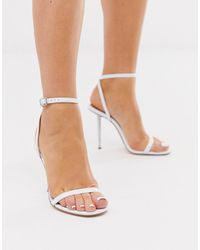 ASOS Nation - Minimalistische Sandalen Met Metalen Hak In Wit