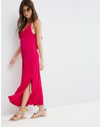 ASOS - Asos Slinky Maxi Dress With Asymmetric Frill Detail - Lyst