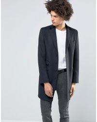 Féraud - Gianni Premium 80% Italian Melton Wool Coat With Velvet Collar - Lyst