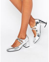 Glamorous - Mary Jane Silver Flare Heeled Shoes - Lyst