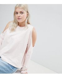 ASOS - Asos Design Curve Sweatshirt With Cold Shoulder - Lyst