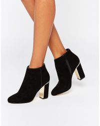 Lipsy - Gold Detail Heeled Ankle Boots - Lyst