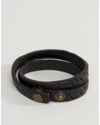 DIESEL - A-trace Leather Wrap Bracelet In Black - Lyst