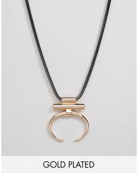 Pilgrim - Geometric Open Hoop Necklace - Rose Gold - Lyst