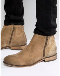ASOS - Chelsea Boots In Stone Suede With Double Zip - Lyst