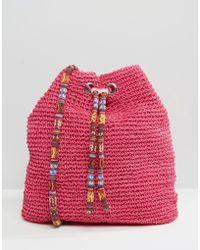 South Beach - Slouch Straw Shoulder Bag - Lyst