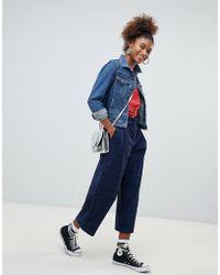 Pull&Bear - Blue Check High Waist Wide Leg Crop Pant - Lyst