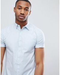 New Look | Muscle Fit Oxford Shirt In Light Blue | Lyst