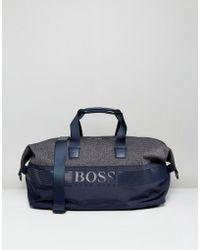 BOSS Green - By Hugo Boss Mixed Fabric Holdall Navy - Lyst