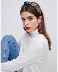 Pieces - Wrap Printed Scarf Headband - Lyst