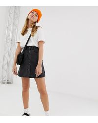 Noisy May Petite - Button Front Denim Skirt - Lyst