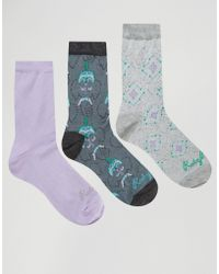 Ruby Rocks - 3 Pack Socks In Elephant Pattern - Lyst