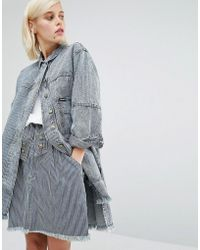 House of Holland - X Lee Pinstripe Denim Coat With Raw Edge - Lyst