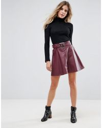 ASOS - Leather Look Mini Skater Skirt With Belt Detail - Lyst