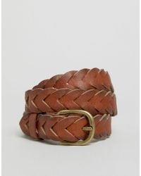 Vero Moda - Plait Leather Belt - Tan - Lyst