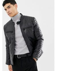 Barneys Originals - Real Leather Quilted 4 Pocket Jacket - Lyst