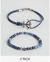 Simon Carter - Beaded & Leather Bracelets In 2 Pack Exclusive To Asos - Lyst